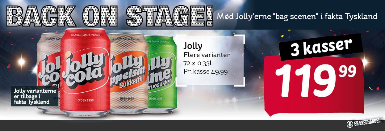 jolly cola, jolly apelsin, Joly cola zuckerfri, jolly time  3 stk a 24ds 119,99 dkk