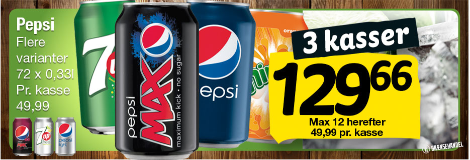 Pepsi, Cola Max Light  Mirinda , 7 Up free