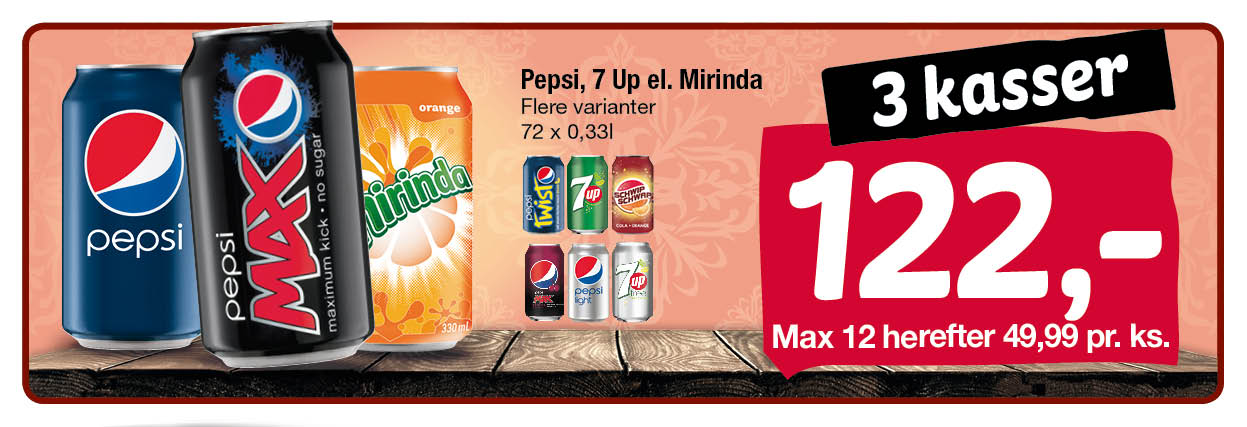 Pepsi 7 Up Mirinda Swip Swap  72 stk a 0,33 l ds  122,00  max 12